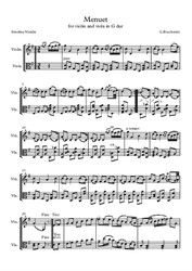 L. Boccherini. Menuet. Transcription for violin and viola in G dur